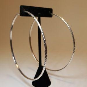 """Jewelry - 3.5"""" silver hoop earrings"""